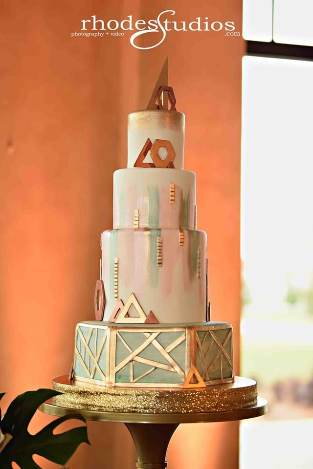 Everything Cake - modern wedding cake with gold geometric detailing