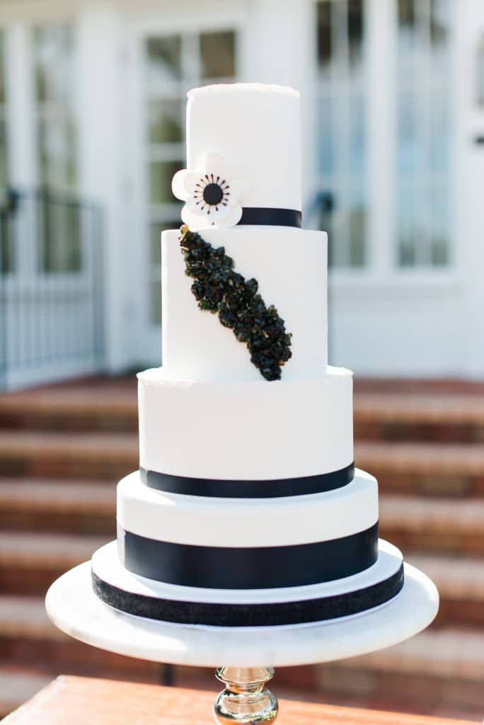 Everything Cake - modern black and white wedding cake