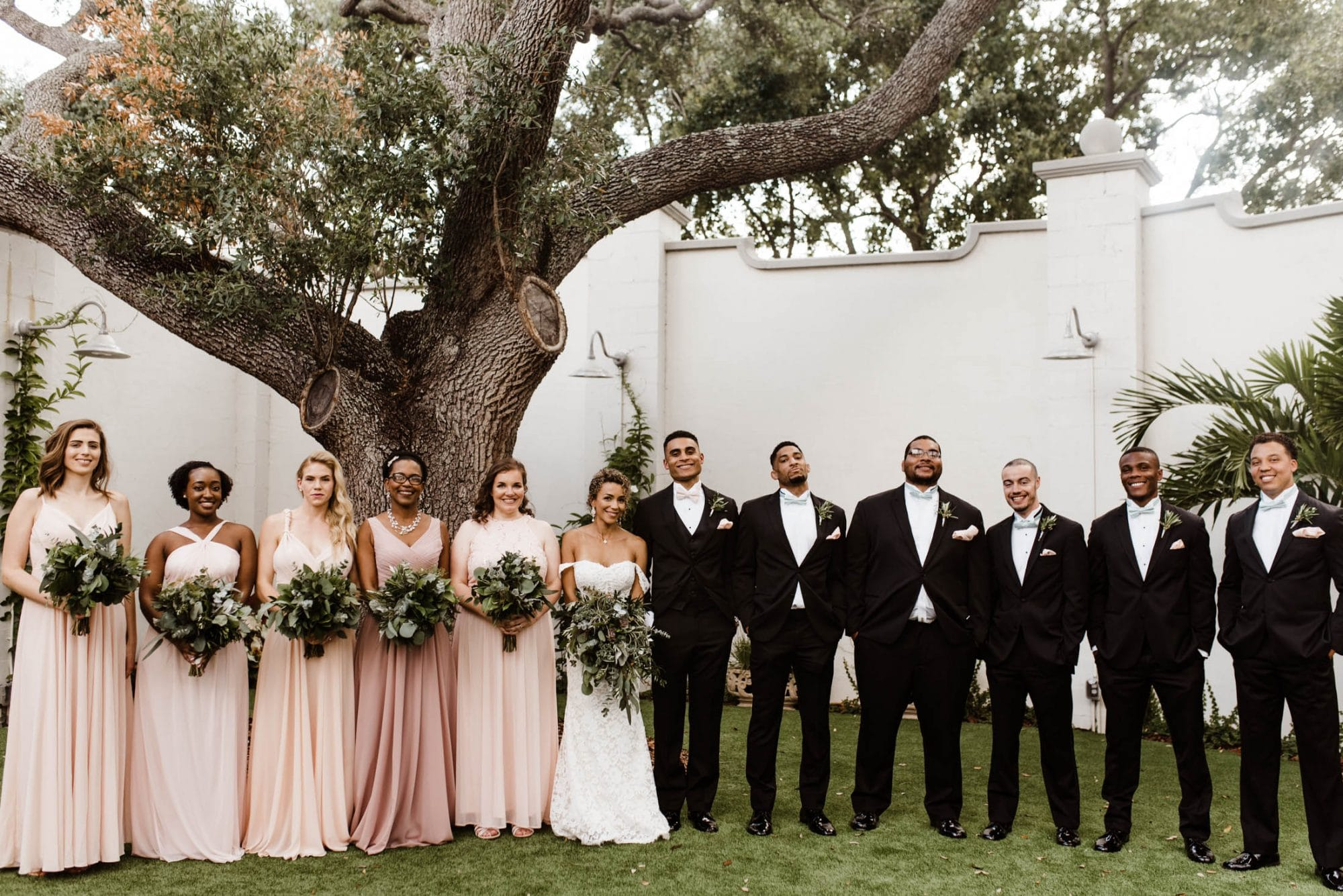 Josie Brooks Photography - wedding party lined up in front of old oak tree