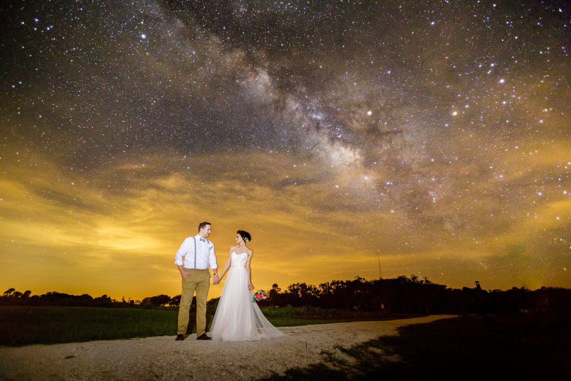 Steven Miller Photography - bride and groom with starry sky and Milky Way behind them