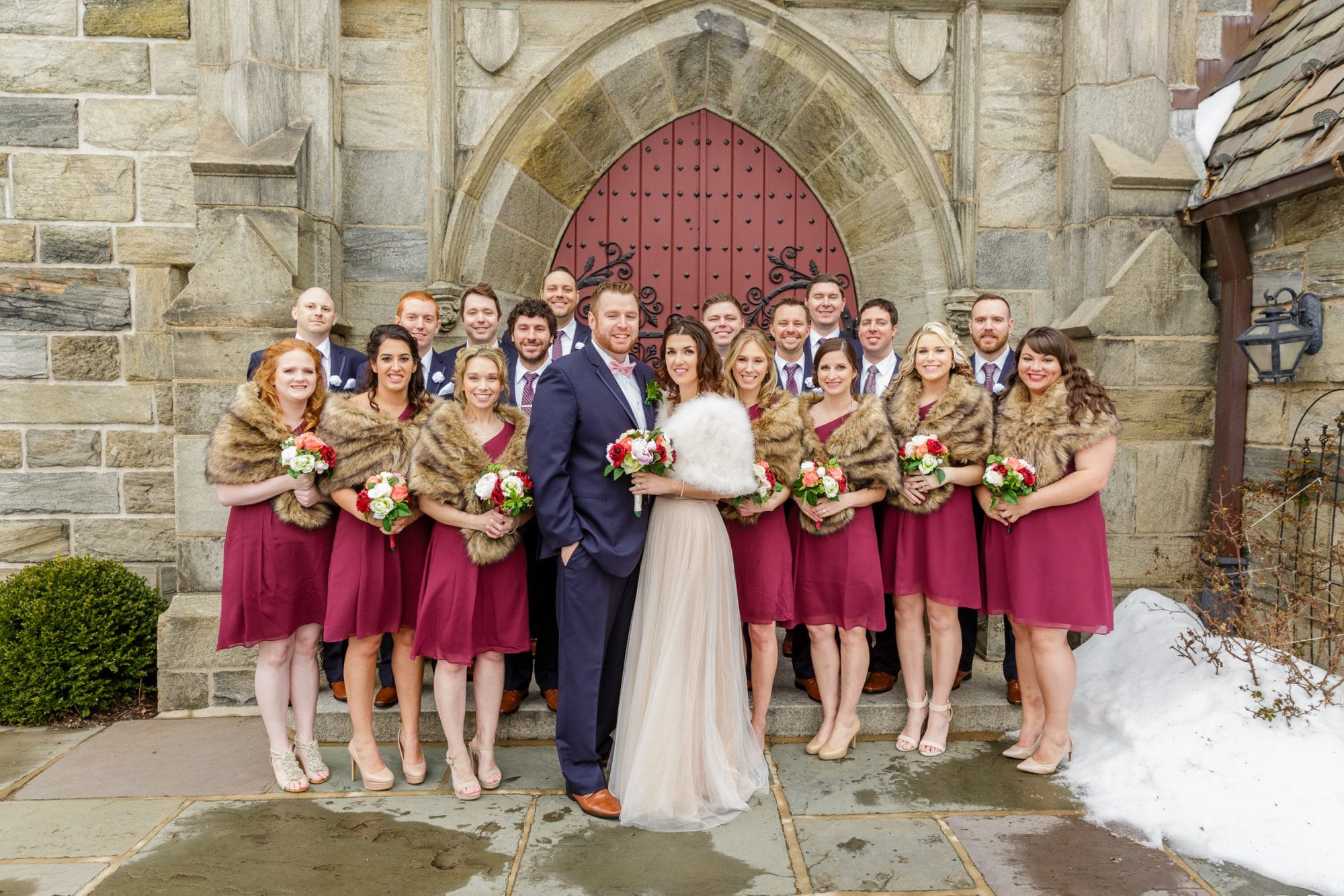 Steven Miller Photography - wedding party in front of old church door