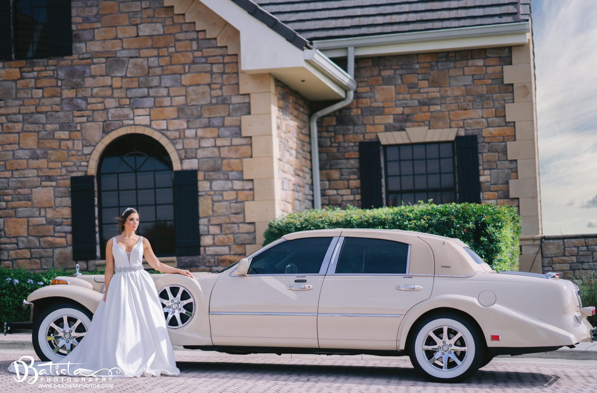 Exotic Limo - bride next to gorgeous classic limousine