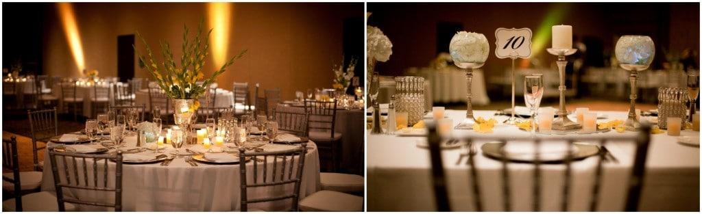 Hyatt-Regency-Orlando-Intnl-Airport- Table settings for reception with dark lighting