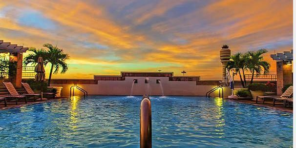 Hyatt-Regency-Orlando-Intnl-Airport-View outside of pool looking at the sunset