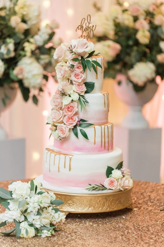 The Cake Studio - romantic wedding cake with gold drips and cascade of pink roses