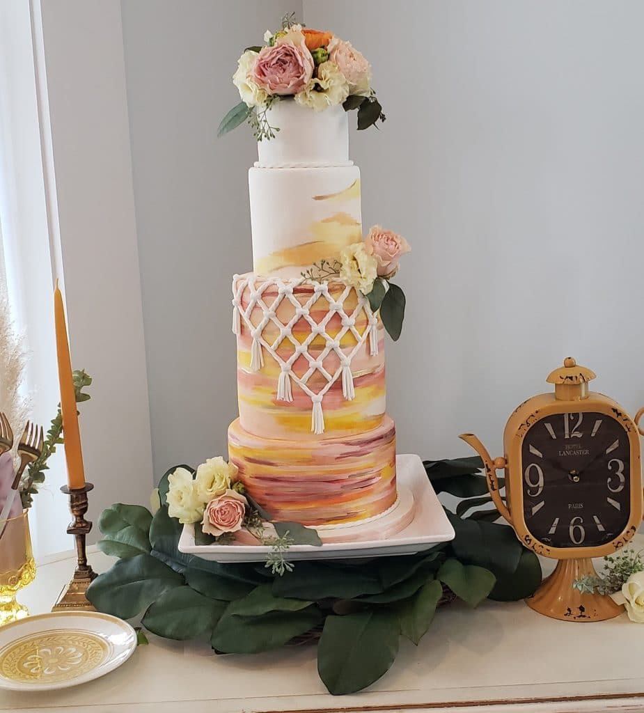 The Cake Studio - colorful cake with macrame effect
