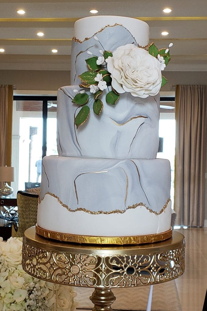The Cake Studio - three-tiered wedding cake with marble effect