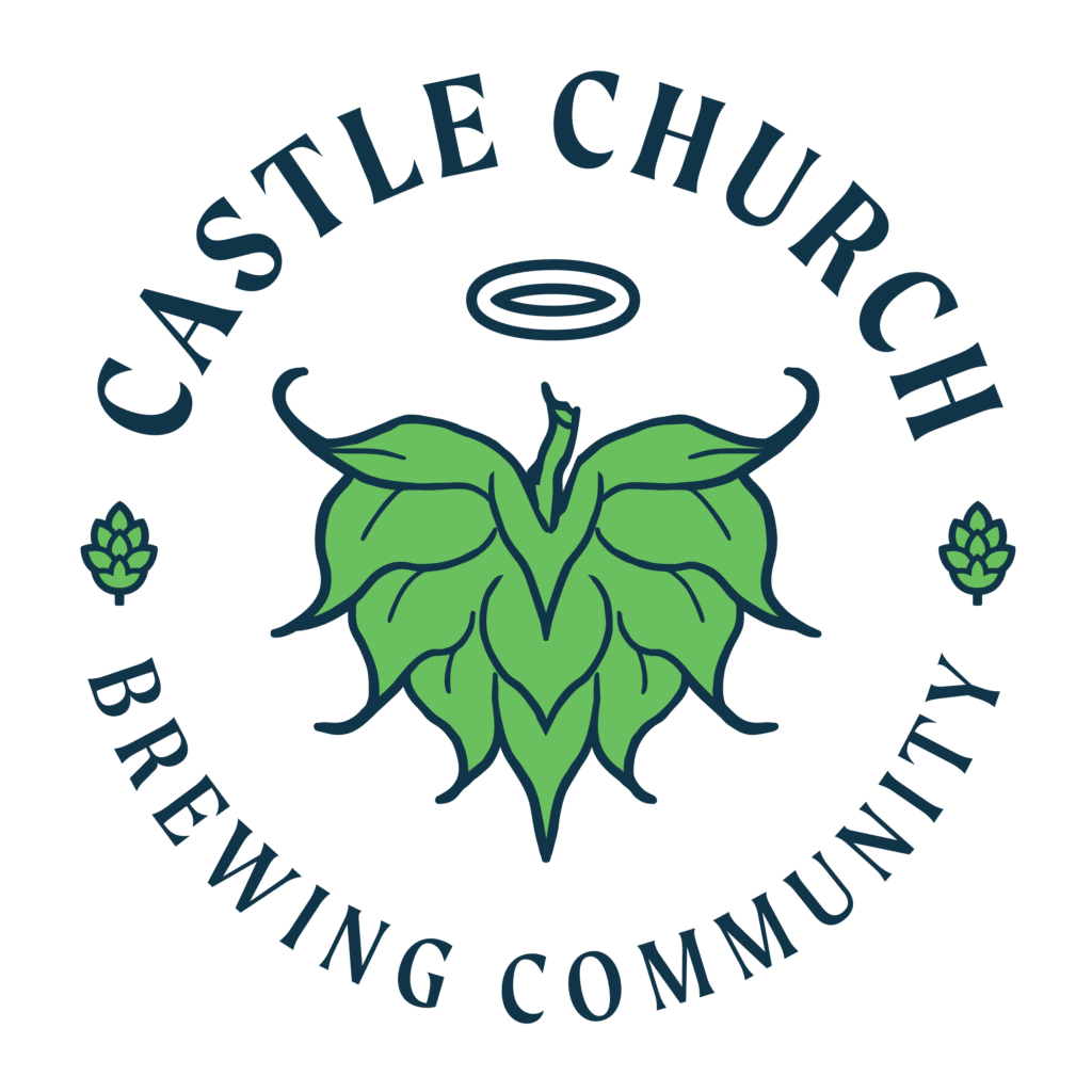 castle church brewing logo with name and green hops with halo over it