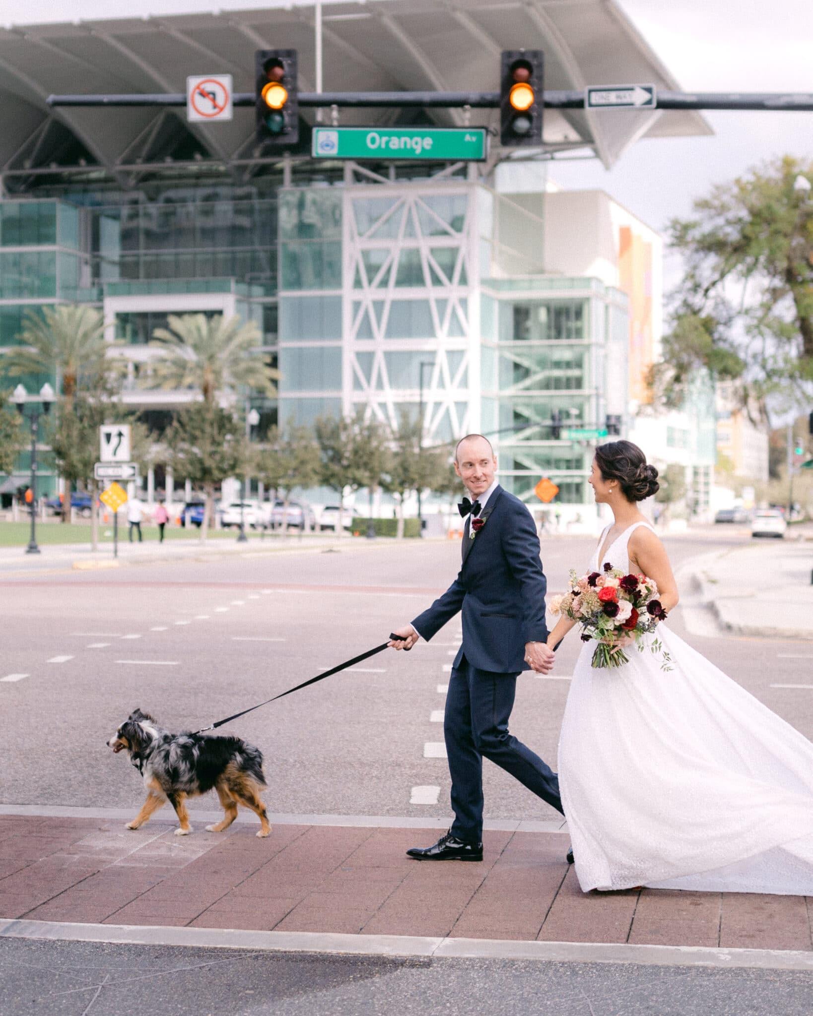 bride & groom walking across street with dog