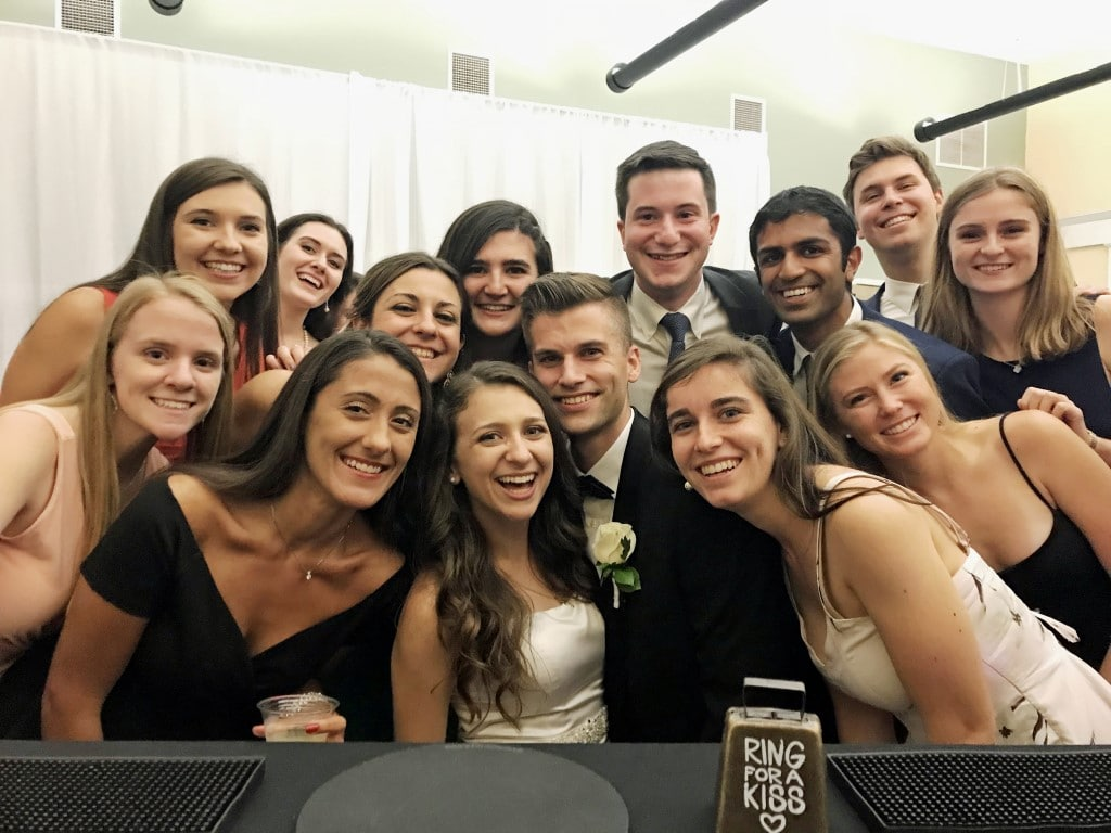 Beck-N-Call-Bartenders-Wedding attendees with bride smiling with happiness