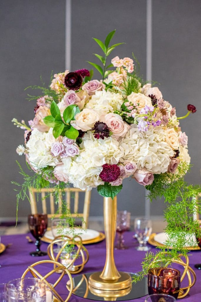 Jill-Heaton-Event-Decor-Large pink and purple floral table centerpiece