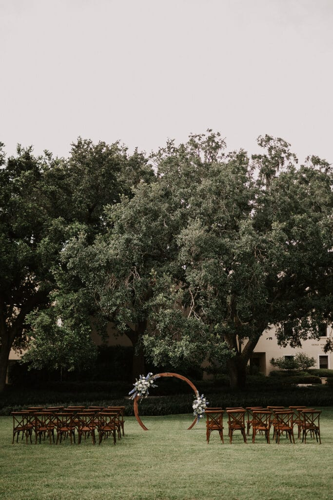 outdoor wedding ceremony area at Rollins College