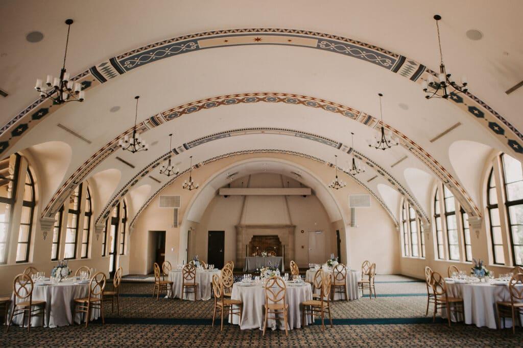 wedding reception area at Rollins College