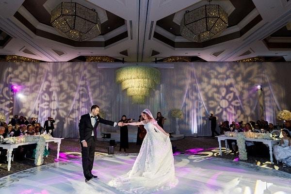 Letz Dance On It - bride & groom on round white wedding dance floor