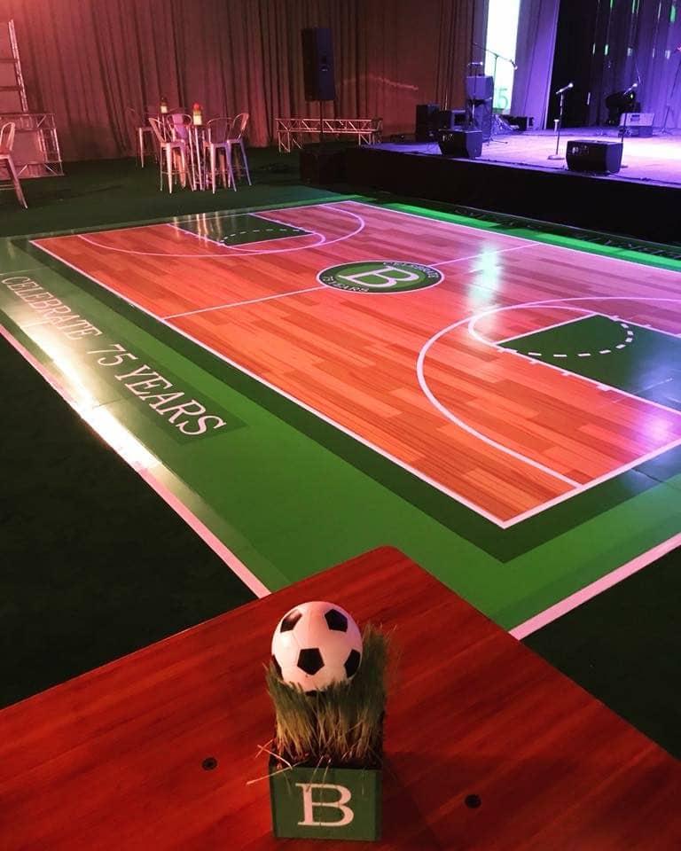 Letz Dance On It- custom floor that looks like a basketball court