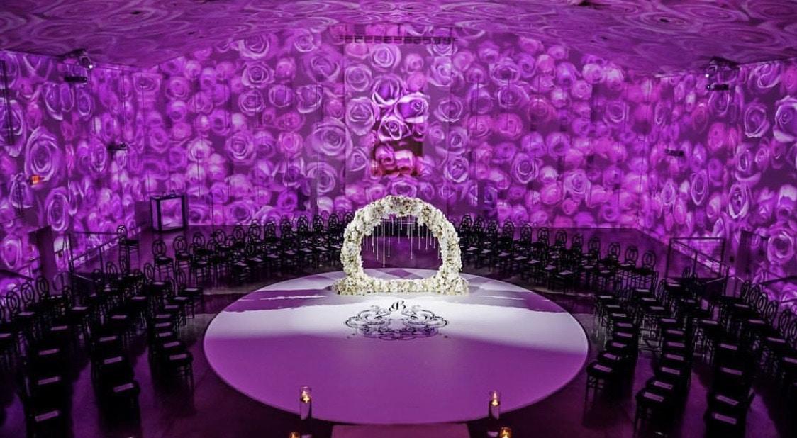 Letz Dance On It- purple flower background with center monogram round wedding dance floor