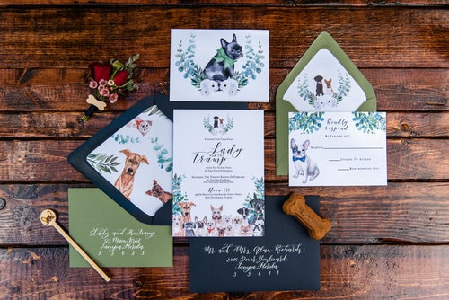 include your pet in your wedding, wedding invitations