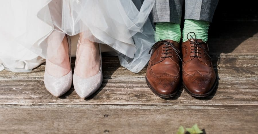 wedding experience gifts - bride and groom feet in wedding shoes