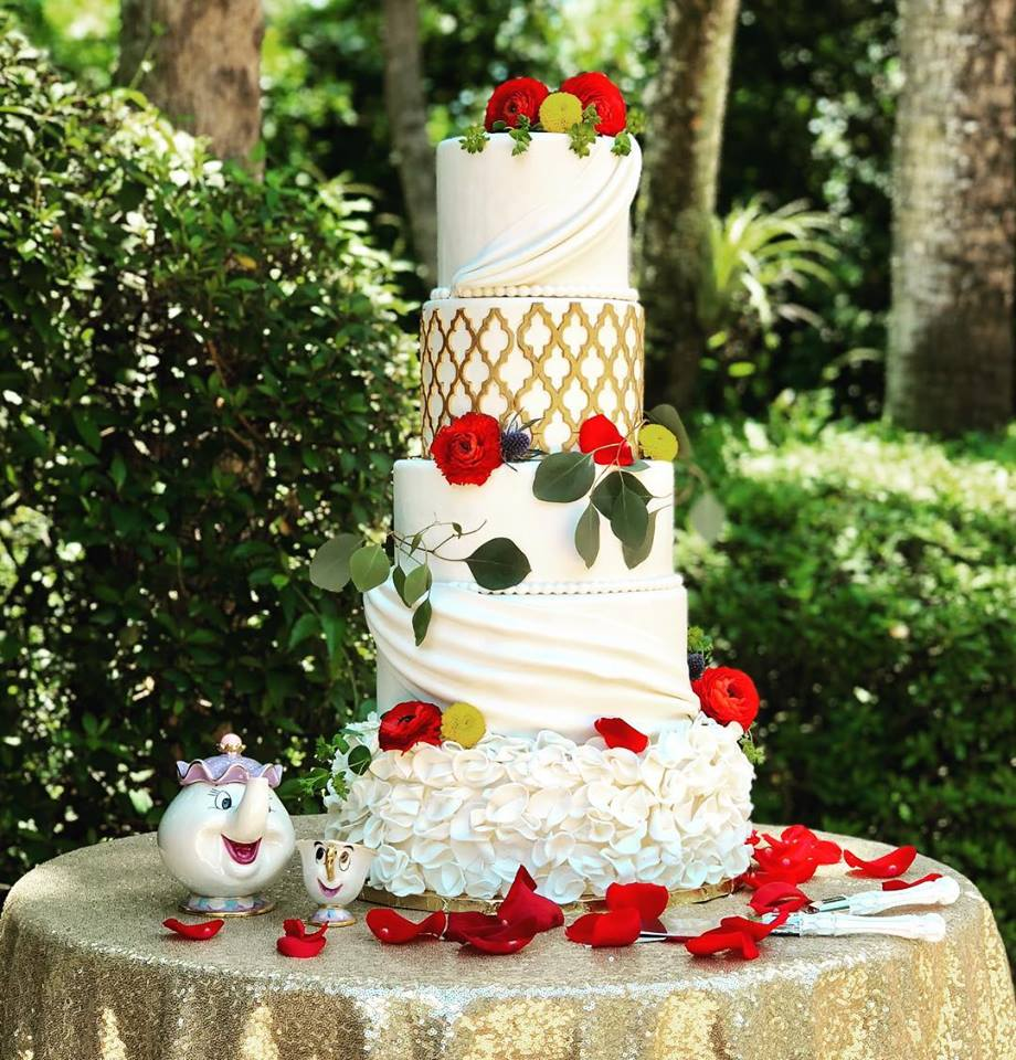 Bake A Wish - multi tiered cake with disney theme, gold and red flowers