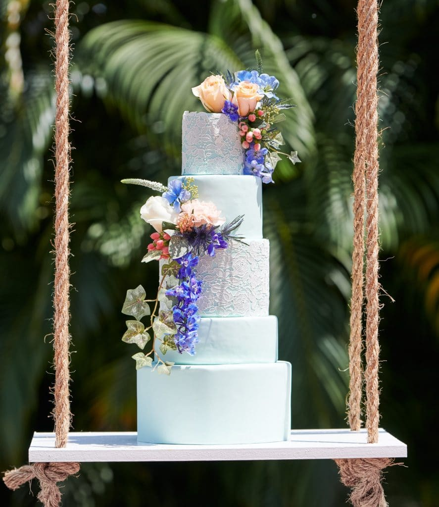 Bake A Wish - multi tiered cake, white with flowers & ivy