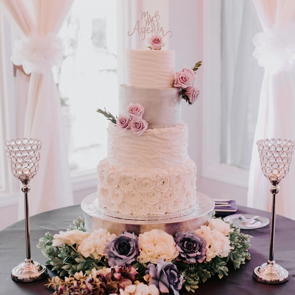 Bake A Wish - 4 tiered wedding cake with flowers
