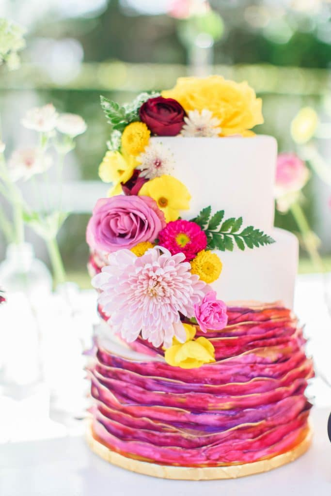 Bake A Wish - 3 tiered cake with flowers