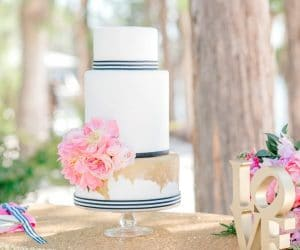 Bake A Wish - 3 tiered cake white with blue striped bottoms