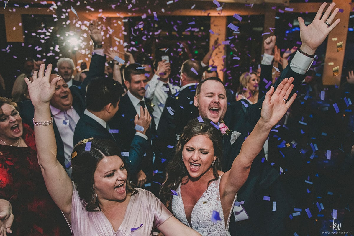 Great wedding DJ- guests dancing with confetti