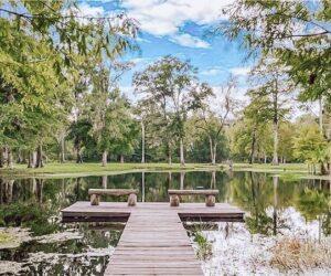 Cypress Creek Farmhouse dock out into lake