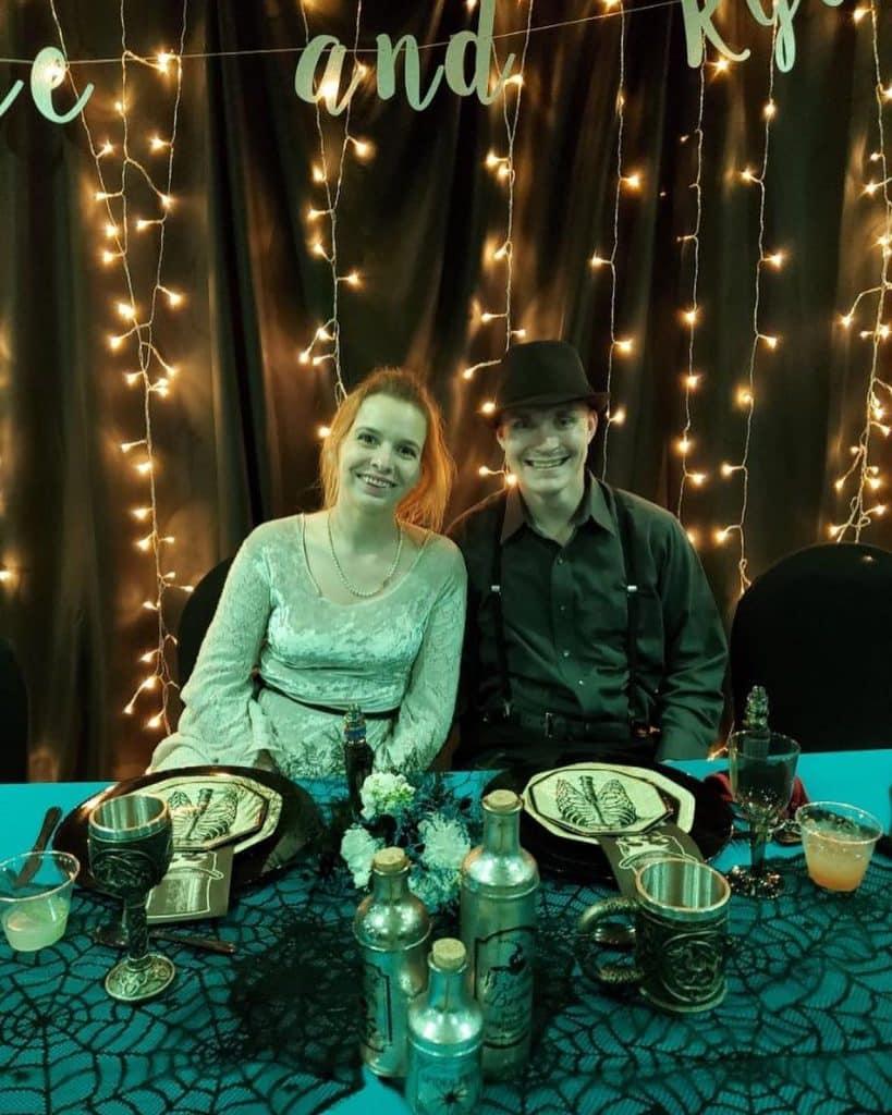 bride and groom at halloween wedding