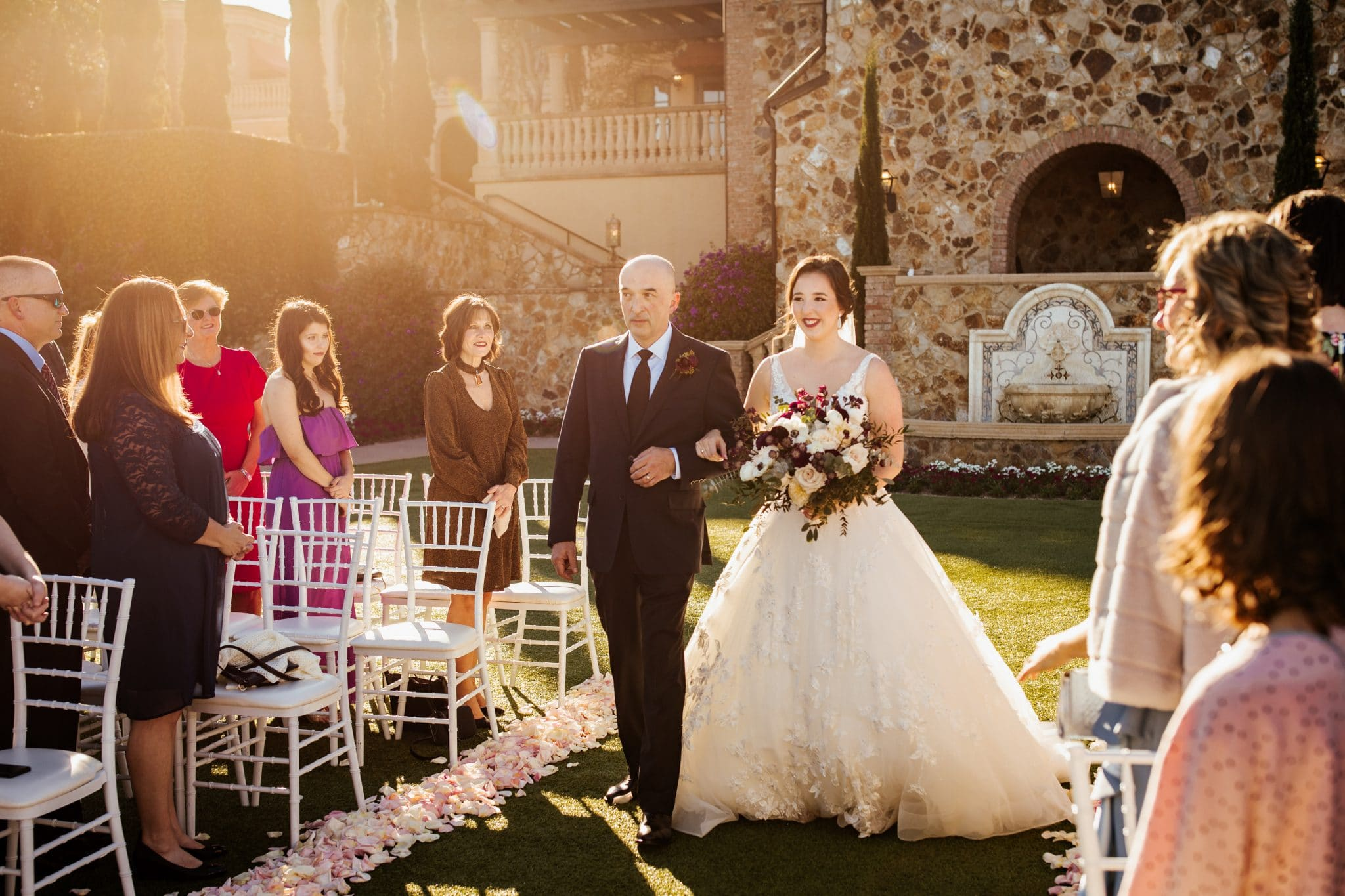 Bella Collina, bridge being walked down the aisle set up outside