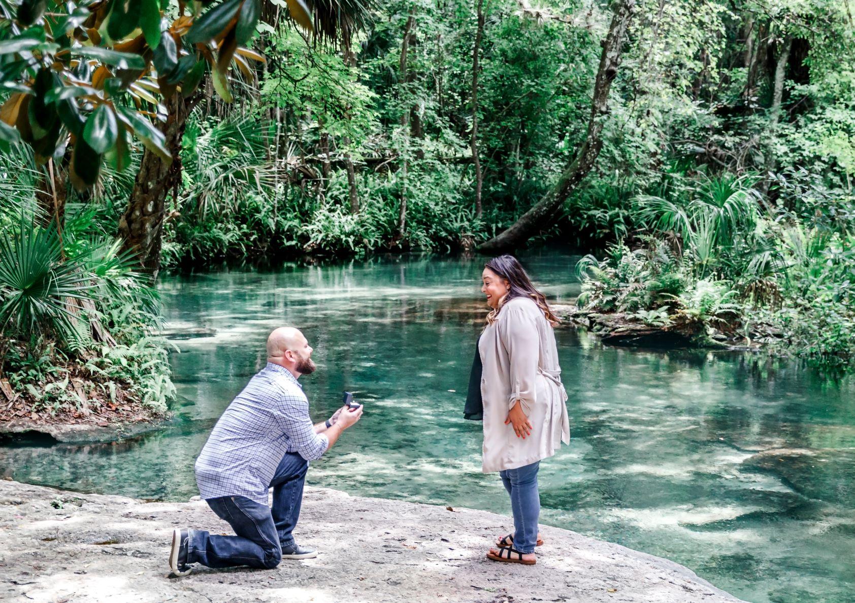 Kelly Park Florida springs wedding proposal