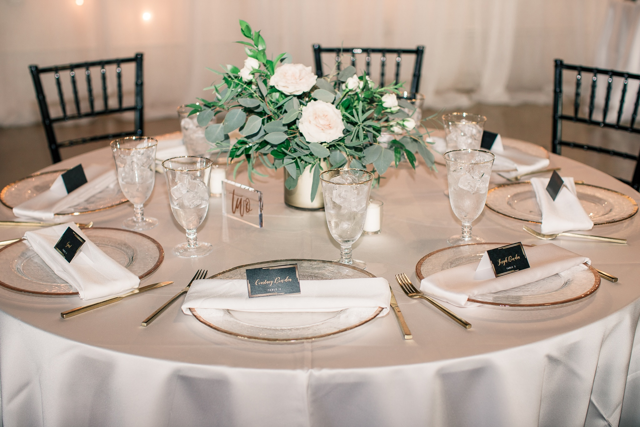 Kiss of Perfection, table with greens and white place setting