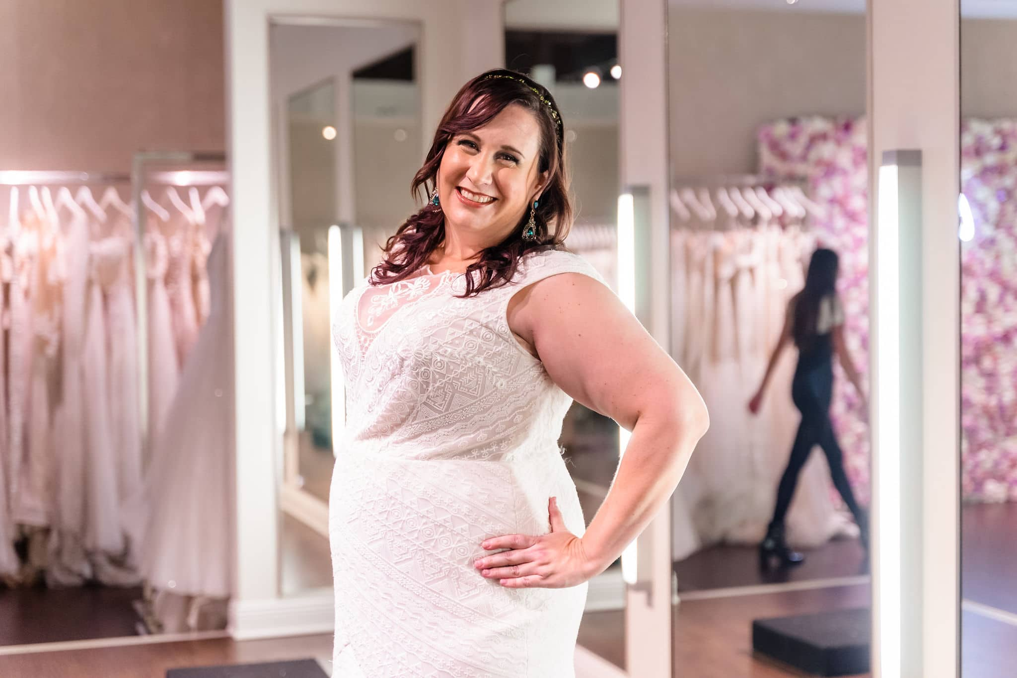 Shannon Tarrant in plus size wedding dress at solutions bridal