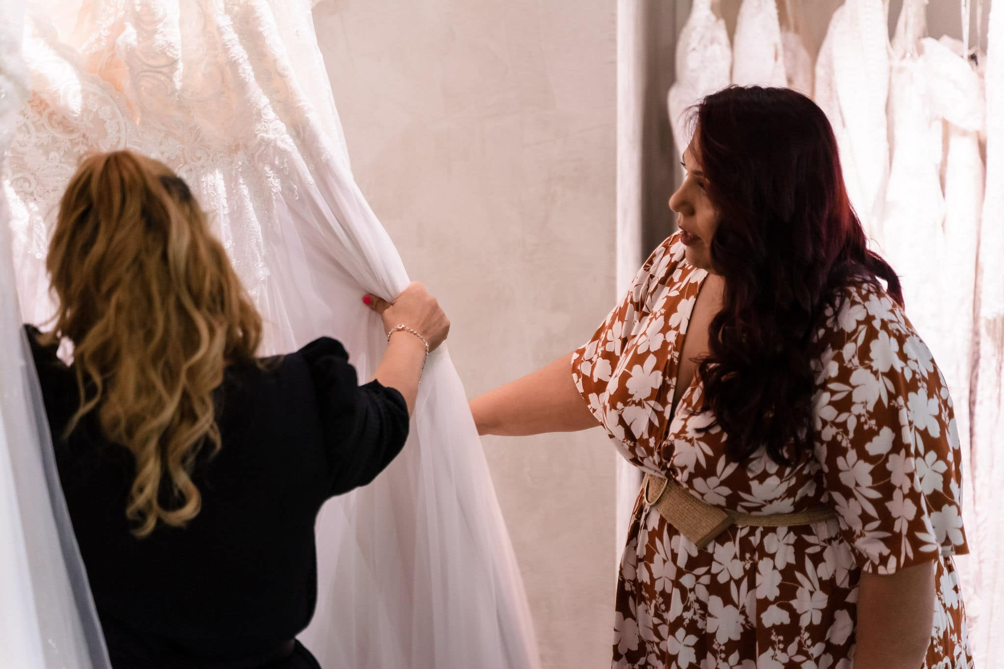 shopping for a plus size wedding dress at solutions bridal