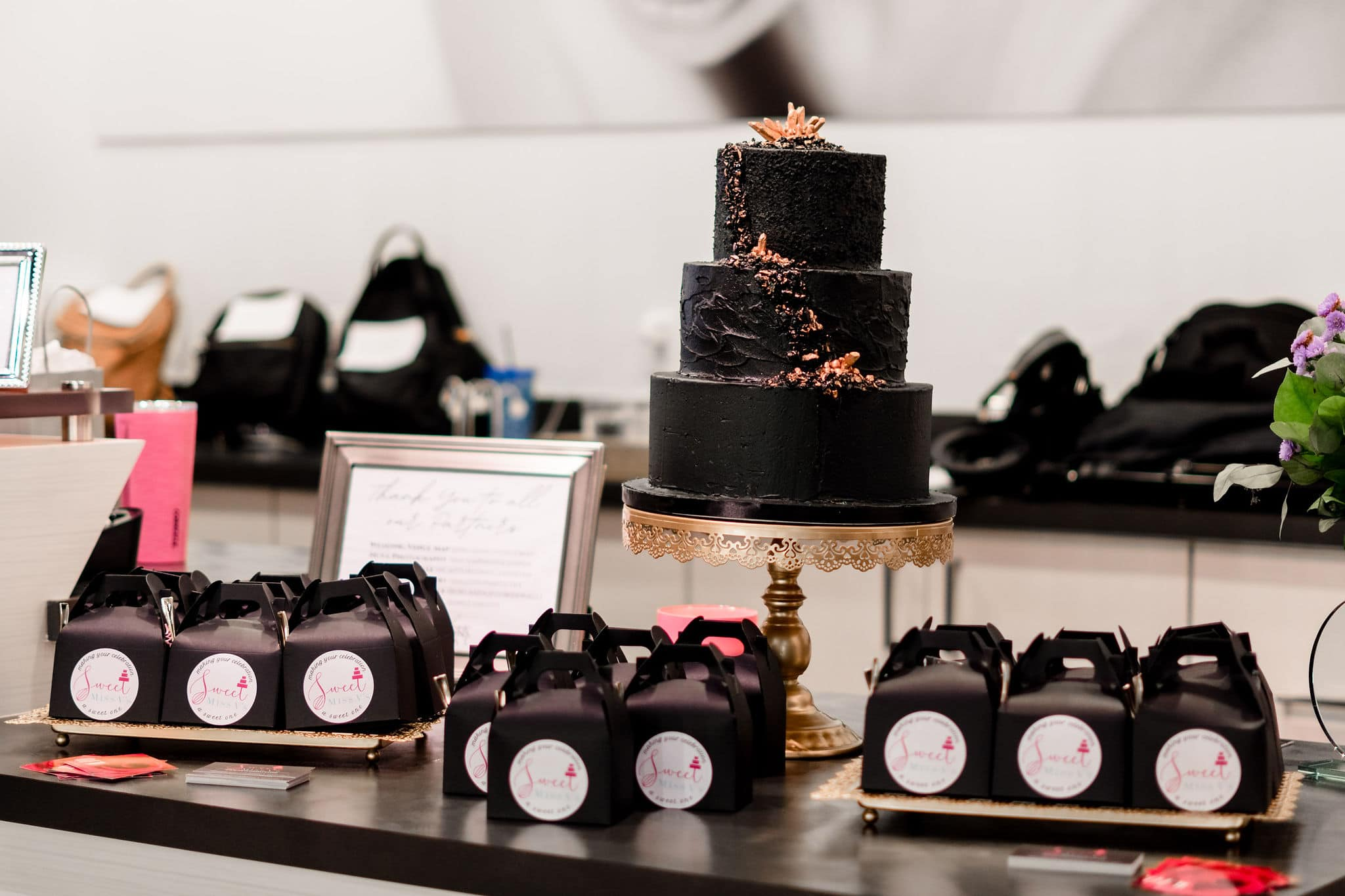 black wedding dessert display by sweet miss vs at solutions bridal