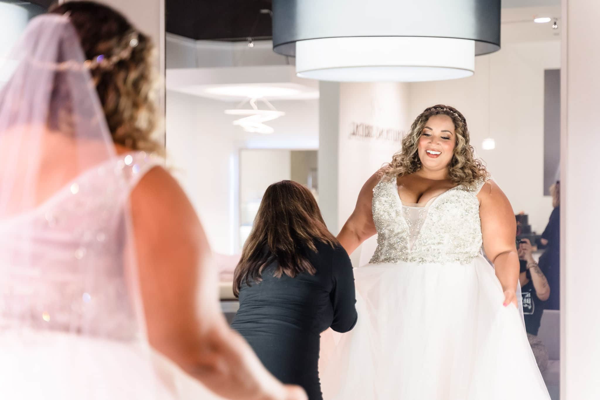 orlando bride in plus size wedding dress at solutions bridal