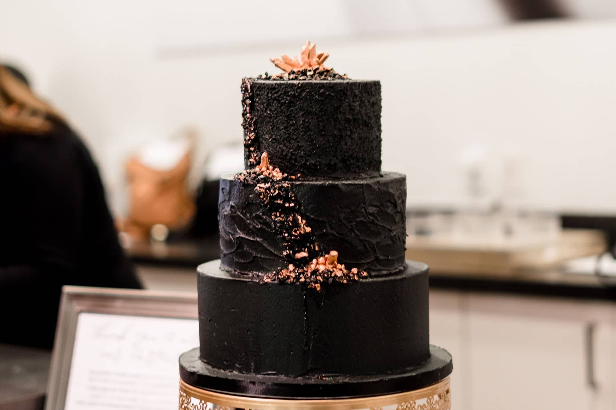 black wedding cake with geode by sweet miss vs