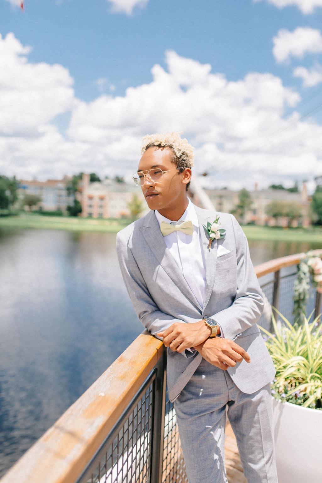 micro wedding Disney Princess and the Frog Wedding Theme groom attire