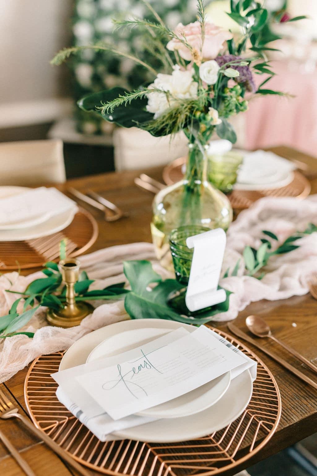 micro wedding Disney Princess and the Frog Wedding Theme reception table decor