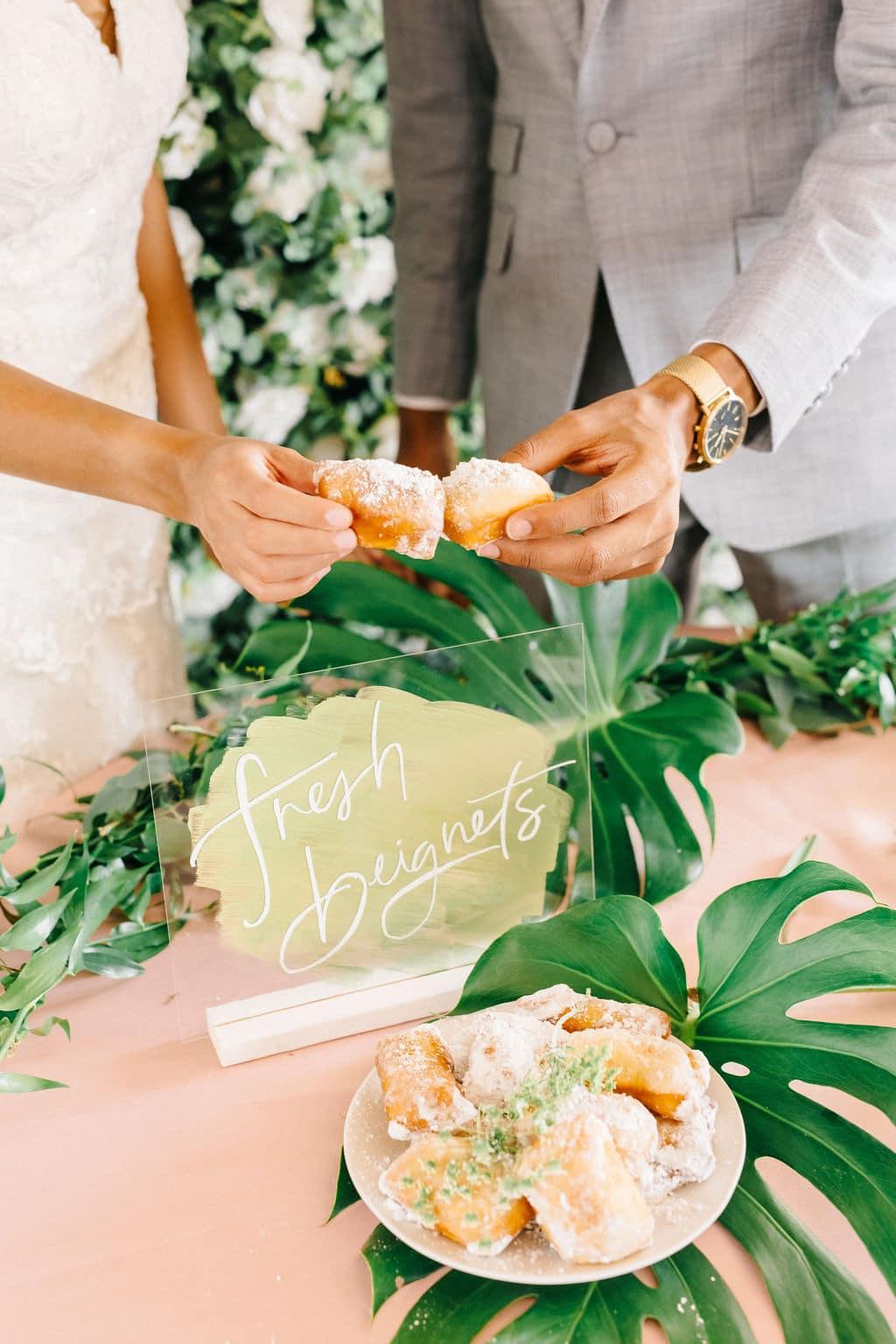 micro wedding Disney Princess and the Frog Wedding Theme wedding beignets toast