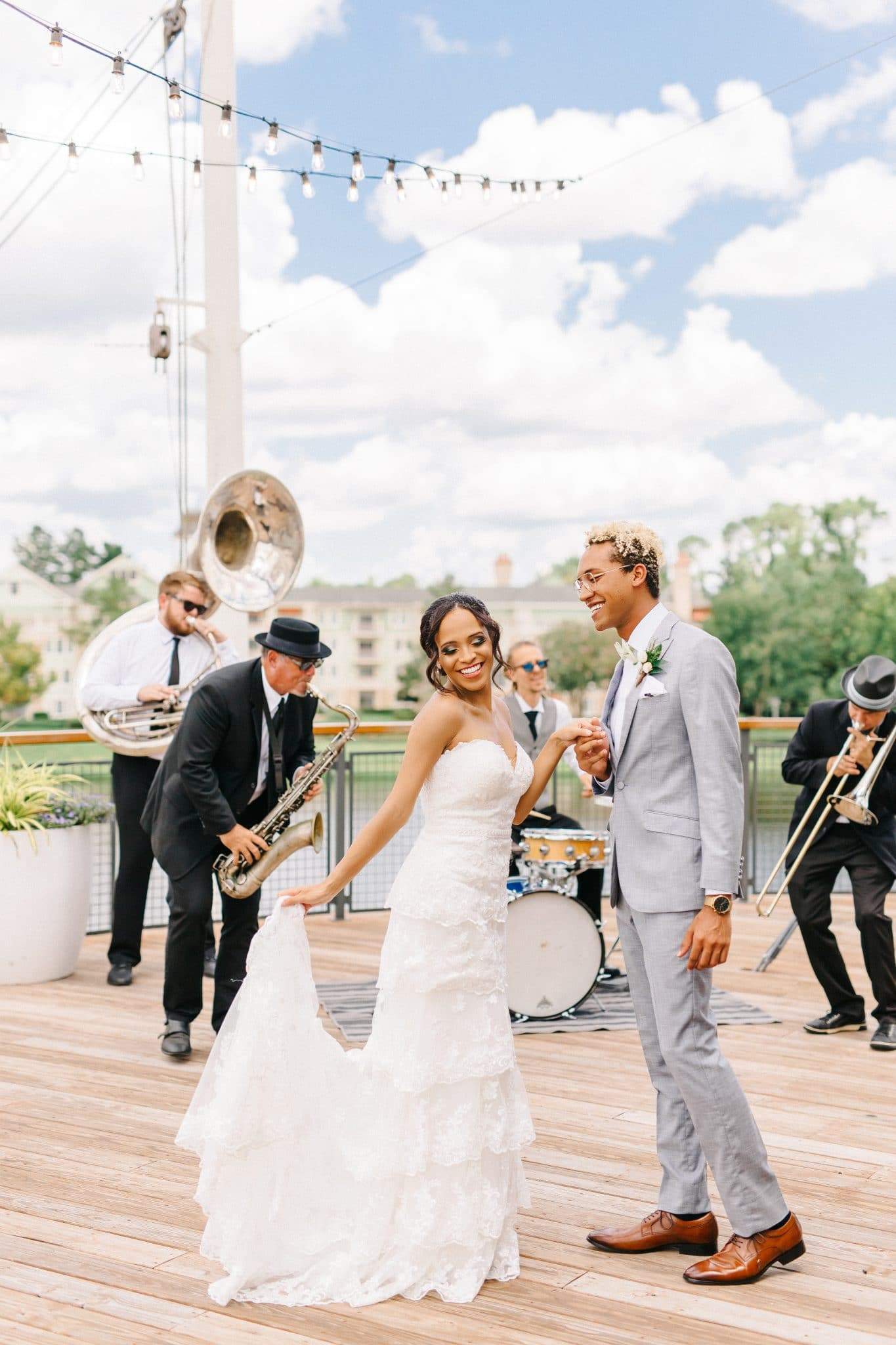 brass band bride and groom dancing Disney Princess and the Frog Wedding Theme