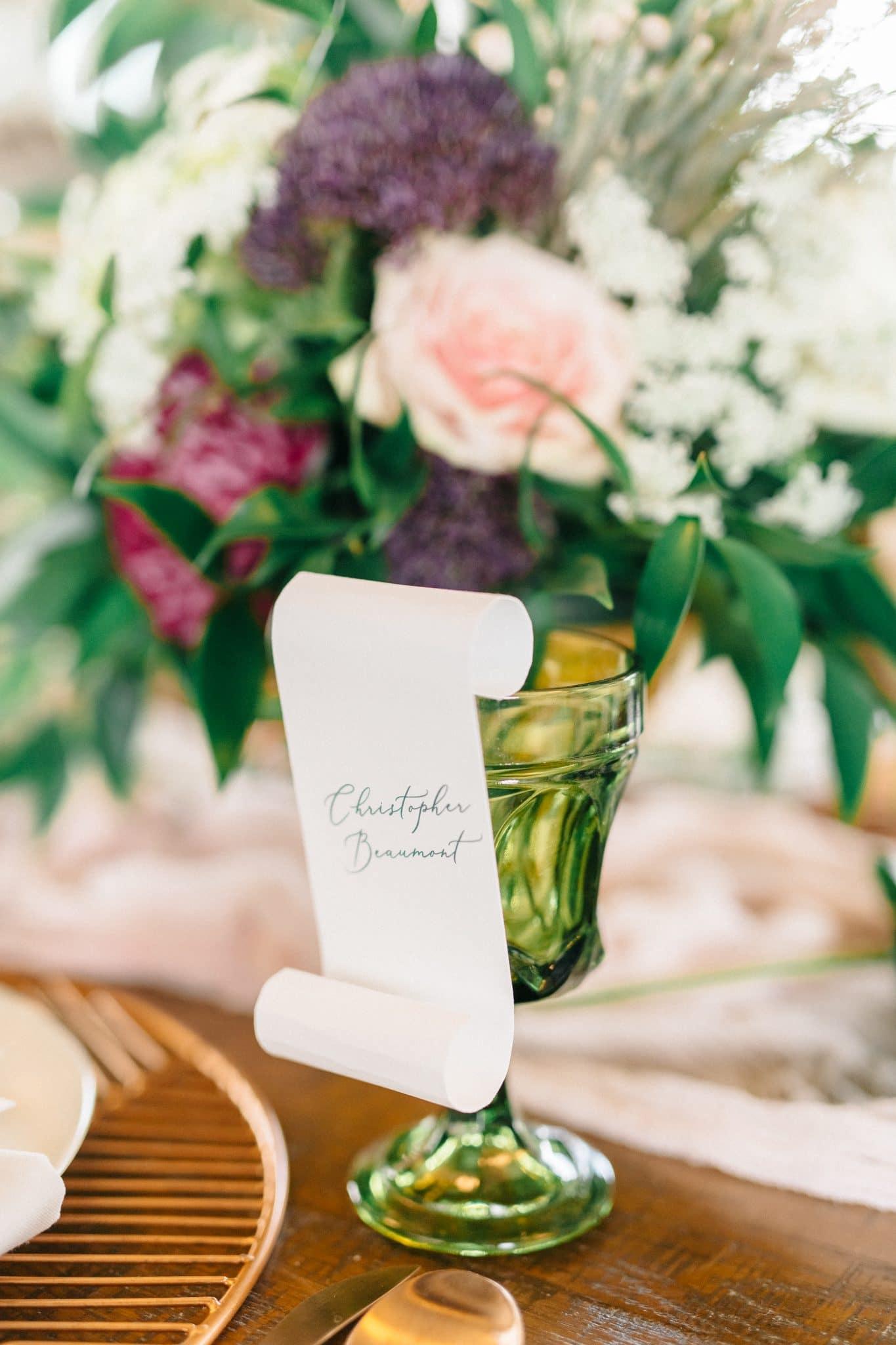 micro wedding Disney Princess and the Frog Wedding Theme wedding placecards