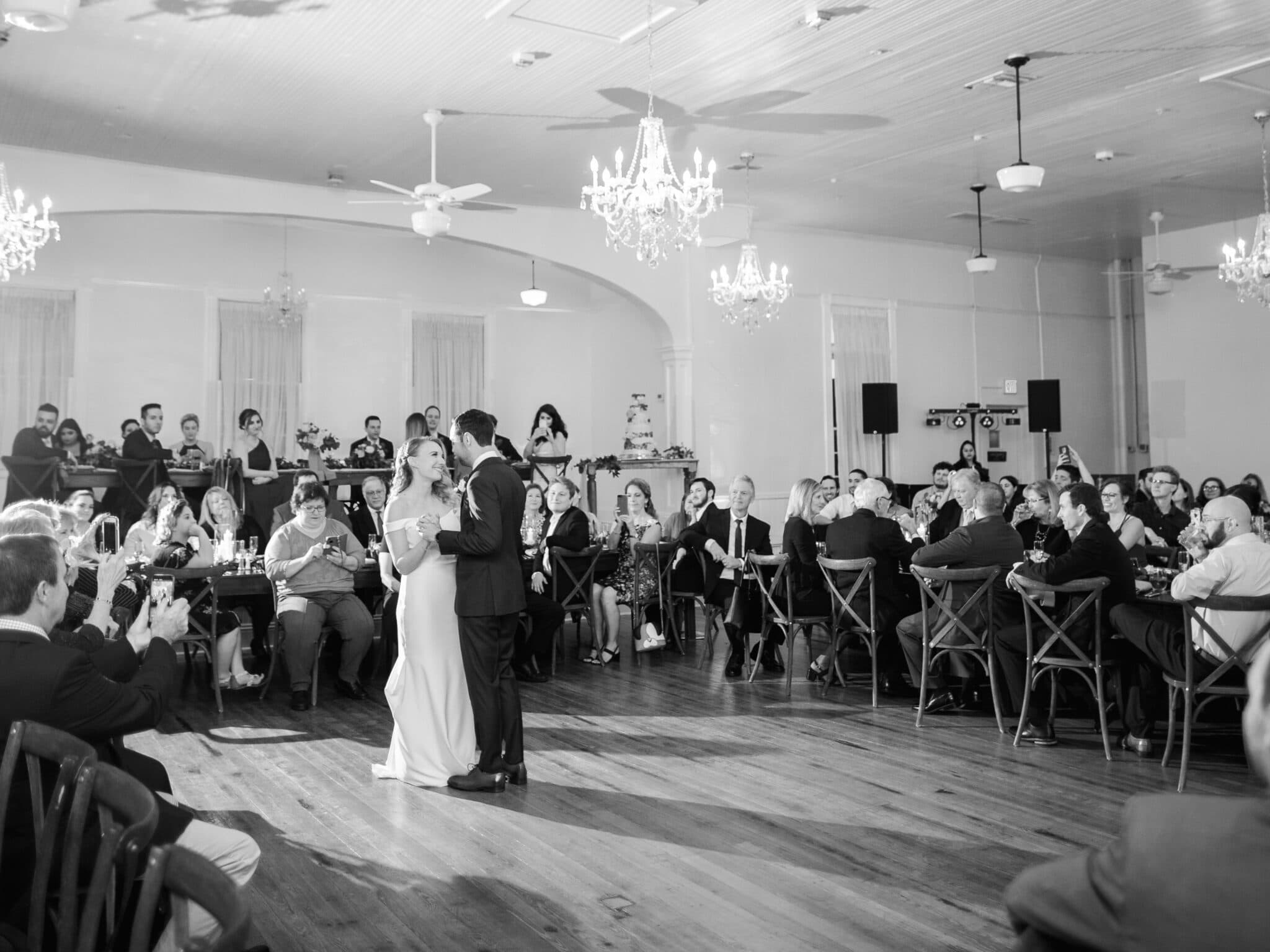Venue 1902 at Preservation Hall, bride and groom first dance, in black and white