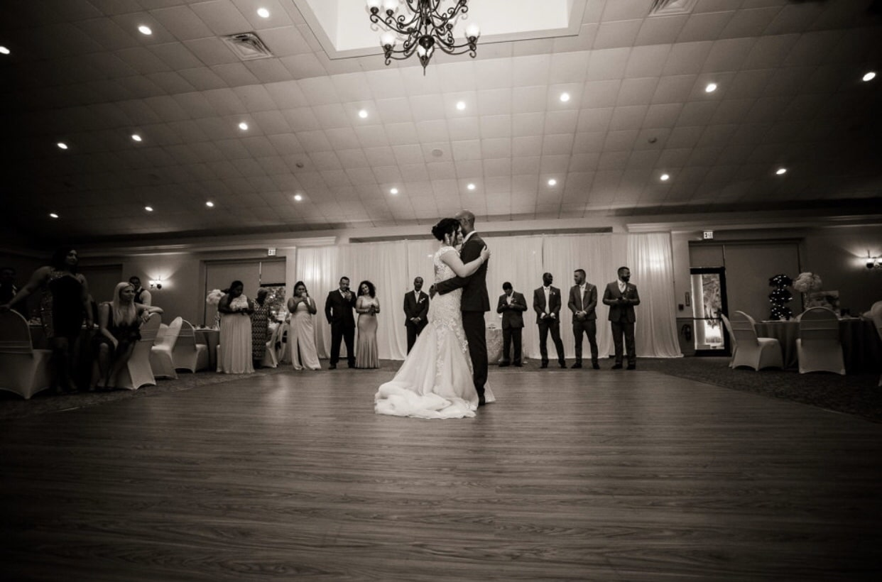 With This Ring, black and white of bride and groom first dance