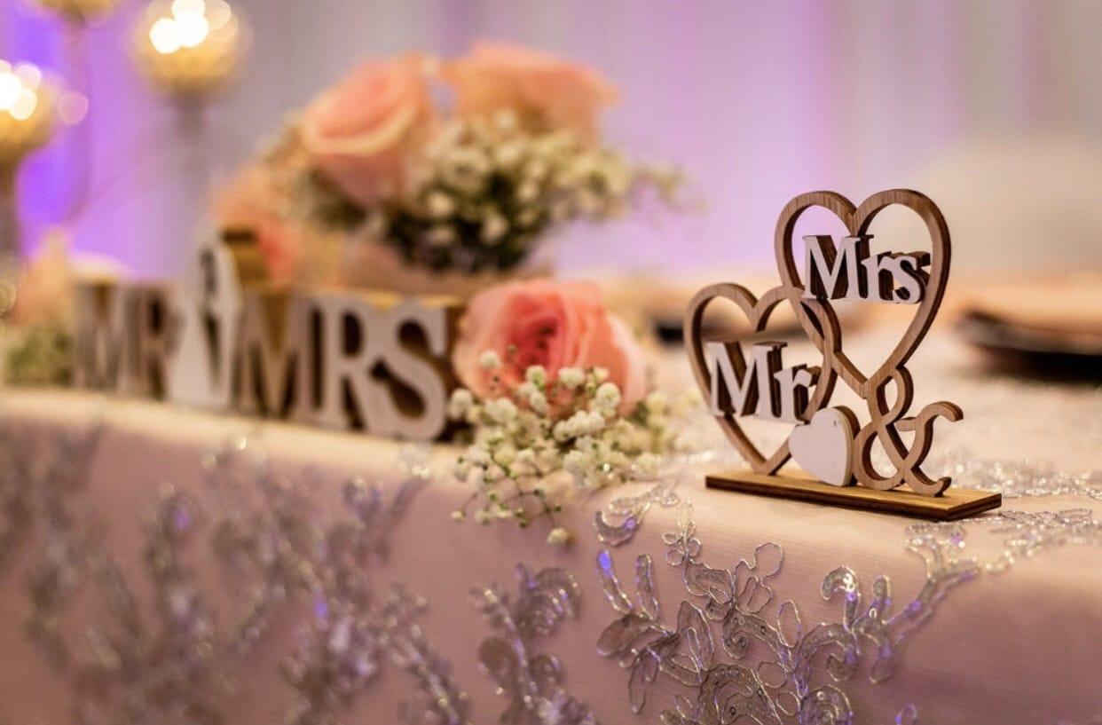 close up of table with flowers and Mr & Mrs decorations