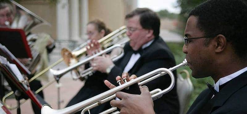 Music Remembrance musicians playing trumpets at formal event