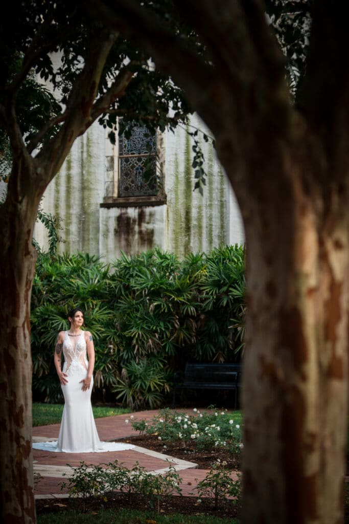 bride pictured through tree in background