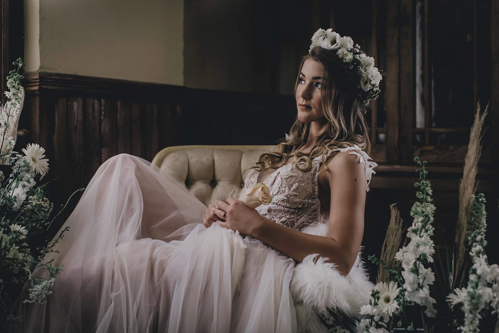 bride posed on chair