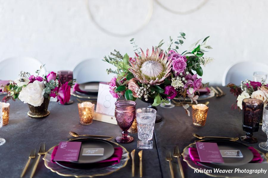 purple table theme with flowers